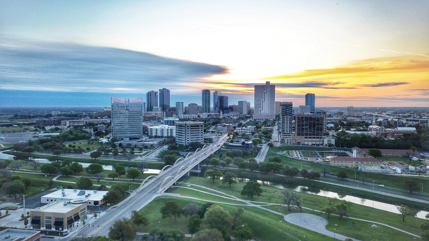 Aerial view of Ft Worth skyline at sunrise